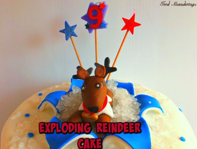 Exploding reindeer cake