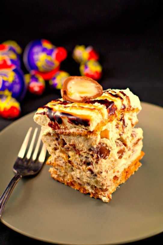 Easy Easter cream egg icebox cake
